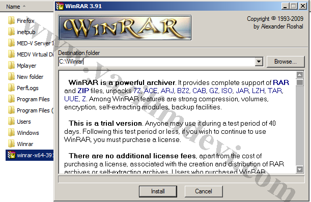 Double-click on the downloaded winrar???.exe (32-bit OS) or winrar-x64-???.
